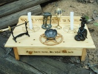 Wiccan Altar pictured with Ritual tools not included with the altar