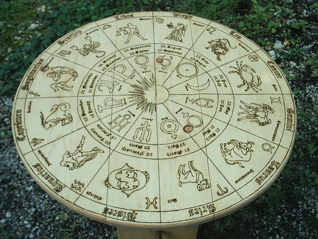 Each Astrology Wheel Tarot Table is crafted in stunning detail
