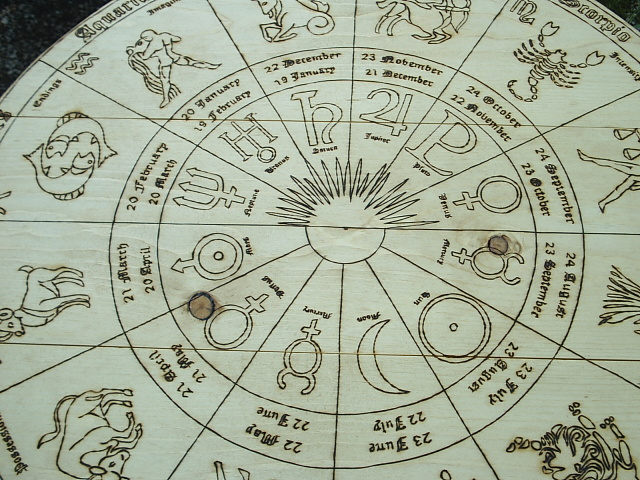 Astrology Wheel Tarot Table is complete with symbols of the 10 planets of traditional astrology